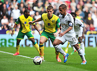 Swansea v Norwich, Liberty stadium Swansea, Saturday 29th March 2014<br /> <br /> Photographs by Amy Husband<br /> <br /> <br /> Swansea's Wayne Routledge on the ball.