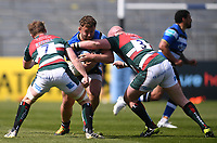 18th April 2021 2021; Recreation Ground, Bath, Somerset, England; English Premiership Rugby, Bath versus Leicester Tigers; Tommy Reffell and Dan Cole of Leicester Tigers tackle Will Stuart of Bath