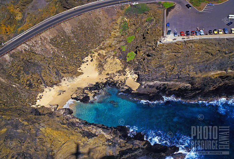 """Aerial view of Halona cover, where the film """"""""from here to eternity"""""""" was filmed along the ka iwi coastline"""