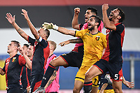 Genoa players celebrate the victory at the end of the Serie A football match between UC Sampdoria and Genoa CFC at stadio Marassi in Genova (Italy), July 22th, 2020. Play resumes behind closed doors following the outbreak of the coronavirus disease. <br /> Photo Matteo Gribaudi / Image Sport / Insidefoto