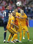 Atletico de Madrid's Saul Niguez (l) and FC Barcelona's Javier Mascherano (c-l), Jordi Alba (c-r) and Andres Iniesta during Champions League 2015/2016 Quarter-Finals 2nd leg match. April 13,2016. (ALTERPHOTOS/Acero)