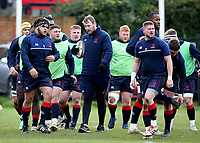The London Scottish team warm up before kick off during the Greene King IPA Championship match between London Scottish Football Club and Jersey at Richmond Athletic Ground, Richmond, United Kingdom on 16 December 2017. Photo by Mark Kerton / PRiME Media Images.