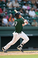 First baseman Michael Osinski (17) of the Greenville Drive bats in a game against the Asheville Tourists on Sunday, June 3, 2018, at Fluor Field at the West End in Greenville, South Carolina. Greenville won, 7-6. (Tom Priddy/Four Seam Images)
