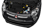 Car Stock 2016 Fiat 500L Living Popstar 5 Door Mini MPV Engine  high angle detail view