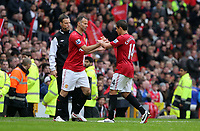 Pictured: (L-R) Ryan Giggs, Javier Hernandez.<br />