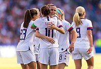 PARIS,  - JUNE 16: Carli Lloyd #10 celebrates her goal with Tierna Davidson #12 during a game between Chile and USWNT at Parc des Princes on June 16, 2019 in Paris, France.