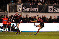 Charlie Hodgson of Saracens takes a penalty kick during the Sanlam Private Investments Shield match between Saracens and the Cell C Sharks at Allianz Park on Saturday 25th January 2014 (Photo by Rob Munro)