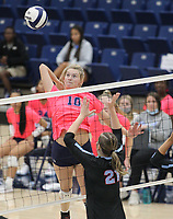 Kat Cooper (10) of Har-ber goes up for spike against ophia Neilhouse (21) of Southside on Tuesday, October 12, 2021, during play at Wildcat Arena, Springdale. Visit nwaonline.com/211013Daily/ for today's photo gallery.<br /> (Special to the NWA Democrat-Gazette/David Beach)