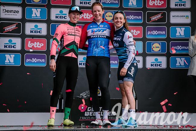 Podium celebrations by race winner Kirsten Wild (NED/WNT-Rotor), runner-up Lorena Wiebes (NED/Parkhotel Valkenburg) & 3rd finisher Letizia Paternoster (ITA/Trek-Segafredo)<br /> <br /> 8th Gent-Wevelgem In Flanders Fields 2019 <br /> Elite Womens Race (1.WWT)<br /> <br /> One day race from Ypres (Ieper) to Wevelgem (137km)<br /> ©JojoHarper for Kramon