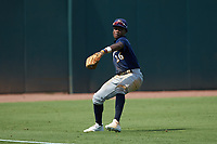 Left fielder Ryan Spikes (26) of Parkview HS in Lilburn, GA playing for the Milwaukee Brewers scout team catches a fly ball during the East Coast Pro Showcase at the Hoover Met Complex on August 2, 2020 in Hoover, AL. (Brian Westerholt/Four Seam Images)