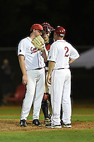 Ball State Cardinals head coach Rich Maloney (2) talks with pitcher Scott Baker (41) and catcher Jaret Rindfleisch (25) during a game against the Maine Black Bears on March 3, 2015 at North Charlotte Regional Park in Port Charlotte, Florida.  Ball State defeated Maine 8-7.  (Mike Janes/Four Seam Images)