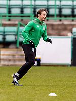6th February 2021; Easter Road, Edinburgh, Scotland; Scottish Premiership Football, Hibernian versus Aberdeen; Scott Allan of Hibernian warms up before kick off