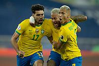 2nd July 2021; Nilton Santos Stadium, Rio de Janeiro, Brazil; Copa America, Brazil versus Chile; Lucas Paquetá of Brazil celebrates his goal with Neymar and Richarlison in the 46th minute 1-0