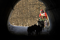 Andrew Angstman runs through a culvert underpass on bike trail through downtown Anchorage during the ceremonial start of the Iditarod in Anchorage AK