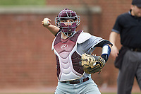 North Carolina Central Eagles catcher Conrad Kovalcik (17) makes a throw to first base against the High Point Panthers at Williard Stadium on February 28, 2017 in High Point, North Carolina. The Eagles defeated the Panthers 11-5. (Brian Westerholt/Four Seam Images)