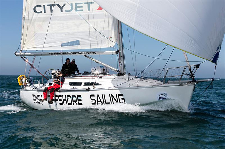 Desert Star of Irish Offshore Sailing – battling on several fronts to retain a podium position in IRC4 in the 2021 Fastnet Race