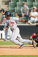 Eury Perez #3 of the Hagerstown Suns follows through on his swing against the Kannapolis Intimidators at Fieldcrest Cannon Stadium August 8, 2010, in Kannapolis, North Carolina.  Photo by Brian Westerholt / Four Seam Images