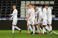 Pictured: Adam King of Swansea celebrates one of his goals with team mates Tuesday 28 February 2017<br /> Re: Premier League International Cup, Swansea City U23 v Hertha Berlin II at at the Liberty Stadium, Swansea, UK