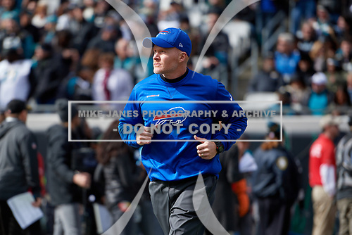 Buffalo Bills head coach Sean McDermott takes the field  before an NFL Wild-Card football game against the Jacksonville Jaguars, Sunday, January 7, 2018, in Jacksonville, Fla.  (Mike Janes Photography)