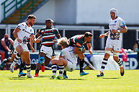 5th June 2021; Mattioli Woods Welford Road Stadium, Leicester, Midlands, England; Gallagher Premiership Rugby, Leicester Tigers versus Bristol Bears; Ben Youngs of Leicester Tigers is tackled by Dan Thomas of Bristol Bears