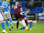St Johnstone v Hearts…10.08.16..  McDiarmid Park…BetFred Cup<br />Tam Scobbie tackles Conor Sammon<br />Picture by Graeme Hart.<br />Copyright Perthshire Picture Agency<br />Tel: 01738 623350  Mobile: 07990 594431