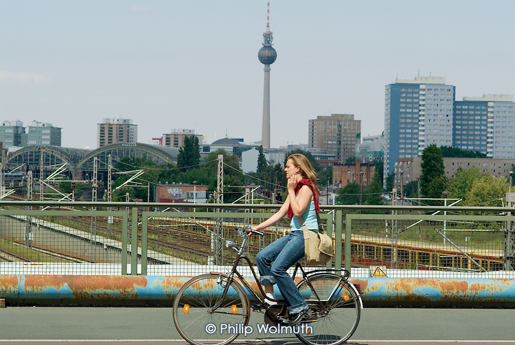 The Fernsehturm TV tower in the former eastern sector of the city dominates the Berlin skyline