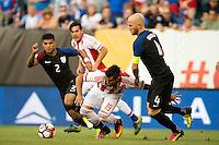 Action photo during the match United States vs Paraguay, Corresponding to  Group -A- of the America Cup Centenary 2016 at Lincoln Financial Field Stadium.<br /> <br /> Foto de accion durante el partido Estados Unidos vs Paraguay, Correspondiente al Grupo -A- de la Copa America Centenario 2016 en el Estadio Lincoln Financial Field , en la foto: (i-d), DeAndre Yedlin de USA, Dario Lezcano de Paraguay y Michael Bradley de USA<br /> <br /> <br /> 11/06/2016/MEXSPORT/Osvaldo Aguilar.
