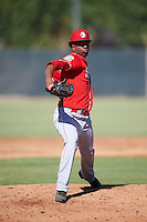 Cincinnati Reds pitcher Gregory Reinoso (55) during an Instructional League game against the Milwaukee Brewers on October 14, 2016 at the Maryvale Baseball Park Training Complex in Maryvale, Arizona.  (Mike Janes/Four Seam Images)