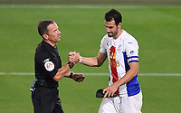 15th September 2020; Vitality Stadium, Bournemouth, Dorset, England; English Football League Cup, Carabao Cup Football, Bournemouth Athletic versus Crystal Palace; referee Keith Stroud comiserates with Luka Milivojevic of Crystal Palace on missing his penalty