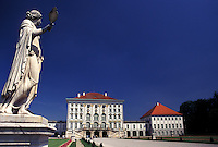 castle, Munich, Germany, Bavaria, Munchen, Europe, Schloss Nymphenburg, Statue in the gardens on the grounds of the Nymphenburg Palace.