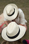 Mint Polo in the Park. Hurlingham Park Fulham London Uk June 6th 2010.Girls wearing straw panama hats.