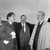 Jean Marchand, Guy Favreau et Lester Bowles Pearson , durant la<br /> Campagne electorale Liberale Federale,  <br /> le 12 octobre 1965<br /> <br /> Photo: Photo Moderne - Agence Quebec Presse<br /> <br /> NOTE : Publication dans Le Soleil 12 et 13 octobre 1965