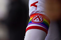 Rainbow armband KVK pictured during a friendly soccer game between Sparta Petegem and KV Kortrijk during the preparations for the 2021-2022 season , on Wednesday 30th of June 2021 in Petegem , Belgium . PHOTO STIJN AUDOOREN | SPORTPIX.BE