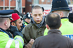 © Joel Goodman - 07973 332324 - all rights reserved . 13/12/2009 . Harrow , UK . JOEL TITUS . Demonstration against Harrow Mosque expansion by the English Defence League ( EDL ) and Stop the Islamification of Europe ( SIOE ) and counter-demonstration organised by various anti-fascist groups including Unite Against Fascism , in North London . Photo credit : Joel Goodman