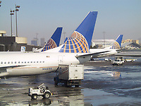 Jan 22, 2001 Newark Airport, NJ, USA<br />  Continental Airline Boeing 737 airplanes get ready for an international flight  at  Newark Airport (New Jersey, USA) Terminal C on January 22nd, 2001.<br /> <br /> Photo by Pierre Roussel / Images Distribution<br /> NOTE :  RAW JPEG FROM CANON G 1