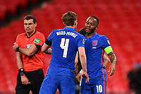 25th March 2021; Wembley Stadium, London, England;  Raheem Sterling England celebrates his goal for 3-0 with James Ward-Prowse England during the World Cup 2022 Qualification match between England and San Marino at Wembley Stadium in London, England.