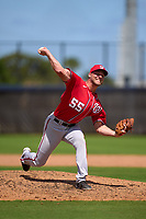 Washington Nationals pitcher Bryan Dobzanski (55) during a Minor League Spring Training game against the Houston Astros on April 27, 2021 at FITTEAM Ballpark of the Palm Beaches in Palm Beach, Fla.  (Mike Janes/Four Seam Images)