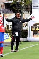 IPIALES-COLOMBIA, 24-10-2019: Flabio Torres, técnico de Rionegro Águilas Doradas gesticula durante partido de la fecha 19 entre Deportivo Pasto y Rionegro Águilas Doradas por la Liga Águila II 2019  jugado en el estadio Municipal de Ipiales de la Ciudad de Ipiales. / Flabio Torres, coach of Rionegro Aguilas Doradas gestures during a match of the 19th date between Deportivo Pasto and Rionegro Aguilas Doradas for the Aguila Leguaje II 2019 played at the Municipal de Ipiales stadium in Ipiales city. Photo: VizzorImage / Leonardo Castro / Cont.