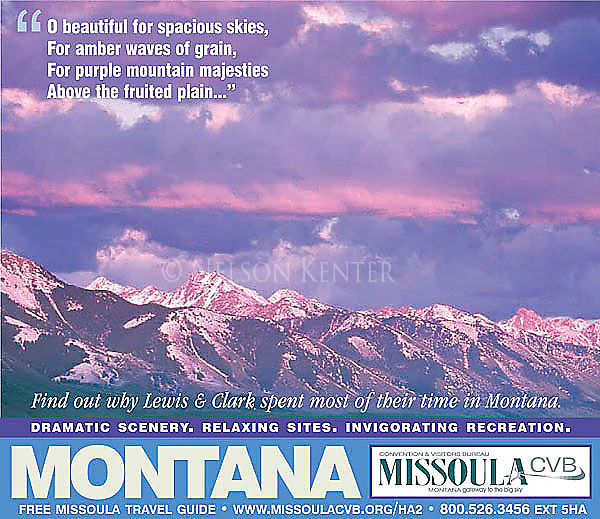 Alpenglow on the Madison Mountain Range in Montana. Nelson Kenter photo used on a tourist publication