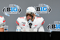 Indianapolis, IN - DEC 7, 2019: Ohio State Buckeyes quarterback Justin Fields (1) address the media after winning the Big Ten Championship game between Wisconsin and Ohio State at Lucas Oil Stadium in Indianapolis, IN. Ohio State came back from a 21-7 deficit at halftime to beat Wisconsin 34-21 to win its third straight Big Ten Championship. (Photo by Phillip Peters/Media Images International)