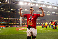 Pictured: Adam Beard of Wales celebrates at full time during the Guinness six nations match between Wales and Ireland at the Principality Stadium, Cardiff, Wales, UK.<br /> Saturday 16 March 2019