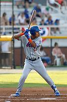 Kingsport Mets infielder Mark Vientos (13) at bat during a game against the Burlington Royals at Burlington Athletic Complex on July 28, 2018 in Burlington, North Carolina. Burlington defeated Kingsport 4-3. (Robert Gurganus/Four Seam Images)
