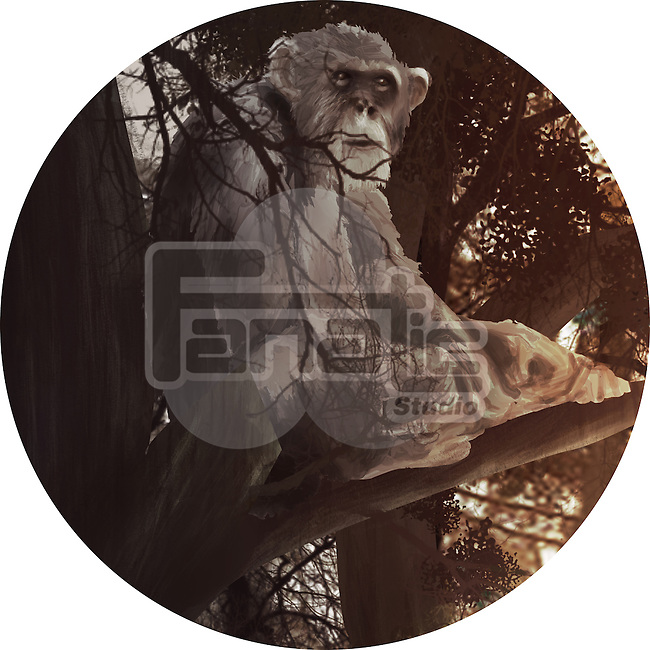 Illustration of monkey sitting on branch in forest against white background
