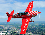World renouned air show pilot and enshrinee in the National Aviation Hall of Fame, Sean D. Tucker, gives media and VIP flights in the Oracle Extra 300 on Wednesday at the 2017 Vectren Dayton Air Show.
