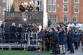 News photographers, radio and TV journalists gather around ITV News outside broadcast tower on College Green, opposite the Houses of Parliament, London, on the day Conservative MPs launched a challenge to Theresa May's leadership of the party.