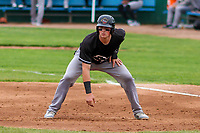 Quad Cities River Bandits catcher Michael Papierski (9) leads off of first base during a Midwest League game against the Beloit Snappers on May 20, 2018 at Pohlman Field in Beloit, Wisconsin. Beloit defeated Quad Cities 3-2. (Brad Krause/Four Seam Images)