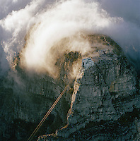 An aerial view of the cable car staion on the top of Table Mountain, Cape Town, South Africa