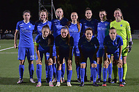 (Back row L to R) Lorene Martin (6) of KRC Genk, Kelsey Geraedts (17) of KRC Genk, Lisa Petry (9) of KRC Genk, Janne Geers (11) of KRC Genk , Gwen Duijsters (13) of KRC Genk, Sterre Gielen (14) of KRC Genk, goalkeeper Aukje van Seijst (1) of KRC Genk (front row L to R) Sien Vandersanden (10) of KRC Genk, Fleur Pauwels (66) of KRC Genk, Silke Sneyers (2) of KRC Genk and Luna Vanhoudt (43) of KRC Genk pose for a team photo before  a female soccer game between  Racing Genk Ladies and Royal Sporting Club Anderlecht , a delayed game from the 1st  matchday of the 2021-2022 season of the Belgian Scooore Womens Super League , tuesday 28 September 2021  in Genk , Belgium . PHOTO SPORTPIX | JILL DELSAUX