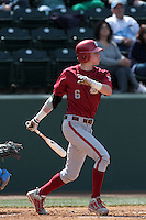 Ian Sagdal #6 of the Washington State Cougars bats against the UCLA Bruins at Jackie Robinson Stadium on March 24, 2012 in Los Angeles,California. UCLA defeated Washington 12-3.(Larry Goren/Four Seam Images)