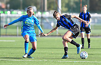 Union's Lisa Despret pictured in a fight for the ball with Brugge's Marie Minnaert during a female soccer game between the women teams of Club Brugge YLA Dames and Union Saint-Ghislain Tertre-Hautrage Ladies on the 1/16 th qualifying round for the Belgian Womens Cup 2020  2021 , on saturday 26 th of September 2020  in Brugge , Belgium . PHOTO SPORTPIX.BE | SPP | DAVID CATRY